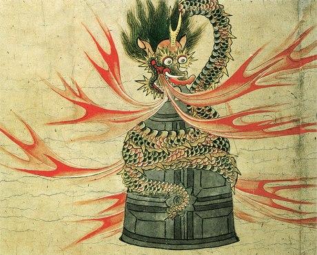 土佐光重『道成寺縁起絵巻』より。 https://commons.wikimedia.org/wiki/File:Dojo-ji_Engi_Emaki.jpg